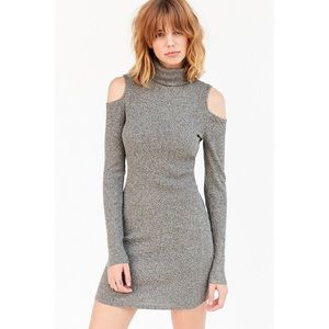 Silence + Noise Turtle Neck Cold Shoulder Dress